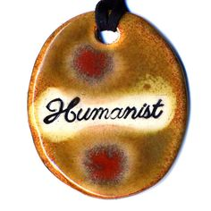 Humanist Ceramic Necklace in Brown and Red by surly on Etsy, $18.00