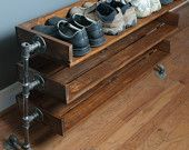 Handmade Reclaimed Wood Shoe Stand with Pipe Stand Legs