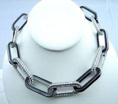 KJL Kenneth Jay Lane Bold Vintage Crystal RS Black Enamel Collar Link Necklace #KennethJayLane