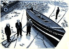 ✽   'dry dock'  -  bryan angus  -   original lino print