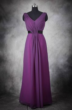 Gorgeous long purple chiffon bridesmaid dress! Ruched V Neckline Contrast Belted Full Length Bridesmaid Dress Style Code: 11371 $94 Buy this bridesmaid dress here: http://www.outerinner.com/ruched-v-neckline-contrast-belted-full-length-bridesmaid-dress-pd-11371-0.html #BridesmaidDresses #Wedding #OuterInner