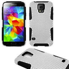 myLife (TM) White and Black - Perforated Mesh Series (2 Layer Neo Hybrid) Slim Armor Case for the NEW Galaxy S5 (5G) Smartphone by Samsung (...