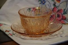 Pink Cabbage Rose Depression Cup & Saucer. Starting at $20