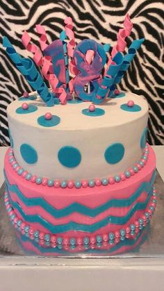 Chevron/polka dot two-tiered blue and pink cake