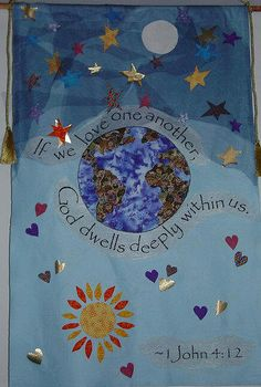 Love Advent Banner - youth Sunday School project - iron on fabric on felt