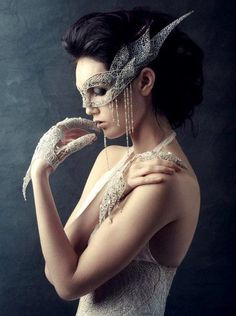 Lace, pearl  rhinestone mask, gloves and gown... truly lovely! This would be amazing in a wedding in place of the bride's veil. Fascinating