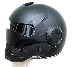 LC Prime® Masei 610 Matt Black Atomic Man Motorcycle Modular Open Face HJC Icon Helmet plastic black 1