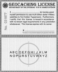 Renzo's Custom Cache: Geocaching License