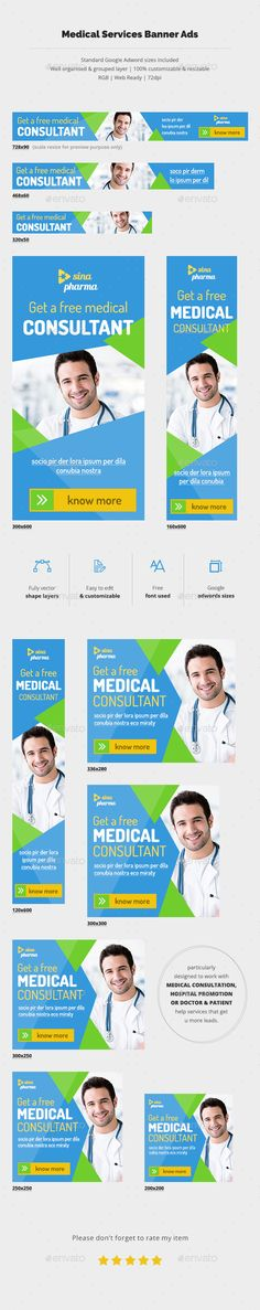 Buy Medical Services Banner Ads by bddesignhub on GraphicRiver. Suitable for any Medical services who want to promote campaign, service promotion or health awareness. Image Font, Facebook Banner, Banner Template, Banner Design, How To Know, Banners, Ads Banner, Marketing, Health