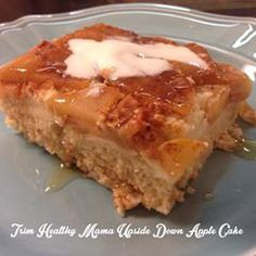 THM Upside Down Apple Cake-- Ok y'all.... I took the THM pancake batter recipe pg. 223, doubled it, and added a tsp almond flavor, cooked up about 6 peeled sliced apples in 2 tsp coconut oil, 6 tsp Truvia, 2 tsp pumpkin pie spice (added about 1/2 to 3/4 cup of water as they cooked), poured the apple mixture in the bottom of a lightly sprayed 9x13 baking dish, poured the pancake batter over the apples...