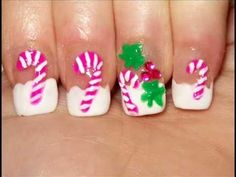 Pink Christmas nails - Candycanes & mistletoes