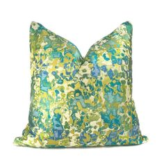 Maverick Turquoise Blue Chartreuse Silk Linen Abstract Pillow Cover