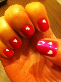 Art of Domesticity: Valentine's Day Nails.  heart hearts nails