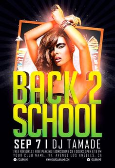Free Back 2 School Party Flyer Template - http://www.freepsdflyer.com/free-back-2-school-party-flyer-template/ Free Flyer: Back 2 School Party Flyer Template - This flyer template was designed to promote school party / semester opening party events. This print ready premium flyer template includes a 300 dpi print ready CMYK file. All main elements are editable and customizable.  #Club, #Deluxe, #Diva, #Glamorous, #Graduation, #Ladies, #Nightclub, #Party, #Prom, #School, #S