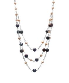 Take a look at this White & Black Freshwater Pearl Triple-Row Necklace by Bella Pearl on #zulily today! $120 !!