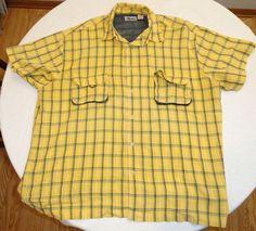 All Terrain Outfitters Men's Yellow Green Plaid Shirt 2XL Excellent Condition #AllTerrainOutfitters #ButtonFront