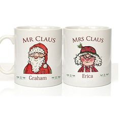 Mr  Mrs Mugs Set Christmas Mugs Mr  Mrs Gifts Santa Claus Gift Personalised Xmas Gift His  Hers Couple Christmas Gifts by Personalised Gift Ideas *** To view further for this item, visit the image link.