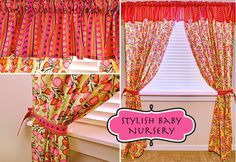 Stylish Baby Nursery: Flowery Curtains & Striped Valance
