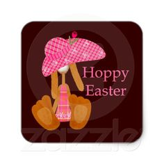 Hoppy #Easter Square #Sticker .. #bunny in a big #pink easter #bonnet .. stickers from #Ricaso