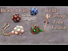 Palline di perline Orecchini di perline con catena - YouTube Beaded Earrings, Beaded Bracelets, Stud Earrings, Channel Earrings, Beading Tutorials, Blue Beads, Round Beads, Seed Beads, Christmas Bulbs