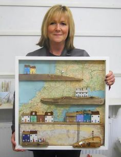 This is my entry into the 'Map Challenge' at 'Untangled Threads' exhibition running Driftwood Projects, Driftwood Art, Diy Projects, Beach Crafts, Home Crafts, Diy And Crafts, Shadow Box Kunst, Ceramic Houses, Wooden Houses