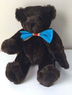 Vermont Teddy Bear 16 inch Dark Brown Plush Fully Jointed Suede Pads bow #AllOccasion