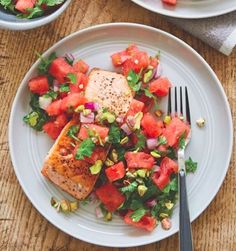 Crispy Salmon And Watermelon Mint Salsa Seared Salmon Recipes, Watermelon Mint, Bruschetta, Salsa, Healthy Recipes, Ethnic Recipes, Food, Summer, Gravy