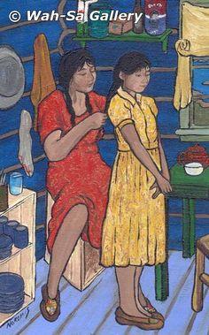 """Brushing Her Hair"" by Nokomis, Ojibway from northwestern Ontario Native American Artists, Native American Women, Commonwealth, Aboriginal Language, Fur Trade, Expo, Brushing, First Nations, Her Hair"