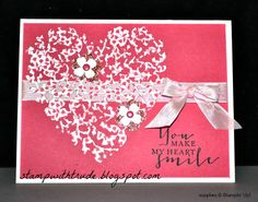 Tuesday Tutorial, Stampin' Up!, Stamp With Trude, Bloomin' Heart thinlits, greeting card, valentine, anniversary