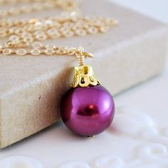 Plum Necklace Glass Pearl Holiday Jewelry by livjewellery on Etsy