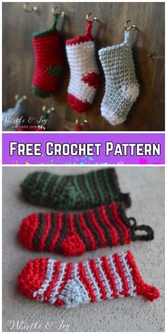 Crochet Christmas Stocking Pattern Mini 19 Ideas For 2019 Crochet Christmas Stocking Pattern, Crochet Stocking, Crochet Christmas Ornaments, Holiday Crochet, Crochet Sock Pattern Free, Crochet Baby Socks, Free Crochet, Free Pattern, Mini Christmas Stockings