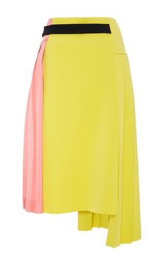 Pleated Colorblock Wraparound Skirt by Marni