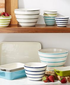 You'll find yourself going to these brightly striped bowls in four friendly colors for all kinds of kitchen tasks.