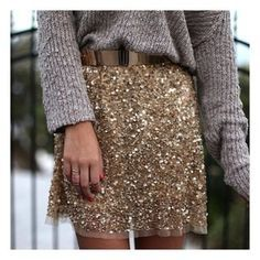 Sequin dress and grey knit pullover, party outfit
