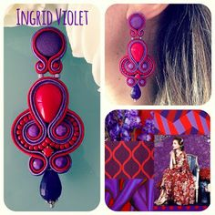 Veronique Creazioni I Love Jewelry, Jewelry Making, Jewelry Design Drawing, Africa Dress, Soutache Earrings, Fabric Jewelry, Shibori, Beaded Embroidery, Jewelery