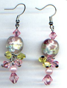 Glas-Ohrhänger, Ohrringe im Murano-Stil (rosé)