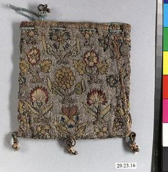 Bag - British, Silk & metal thread on canvas, 4 1/4L x 4 1/4W, Accession Number: 29.23.16