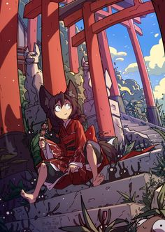 """It's hard not to fall in love with the small creatures lurking in the shadows of this illustration. """"Stairs to the fox temple"""" by Kate-Fox:. Pretty Art, Cute Art, Fox Art, Image Manga, Cartoon Art Styles, Character Design Inspiration, Totoro, Animes Wallpapers, Furry Art"""