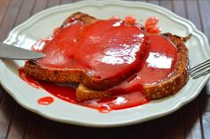 French toast with strawberry sauce.