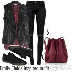 Emily Fields inspired outfit/PLL by tvdsarahmichele on Polyvore featuring J Brand, Converse, Sophie Hulme and Carolina Glamour Collection