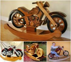 Wooden motorcycle rocking horse shop pinterest for Woodworking plan for motorcycle rocker toy