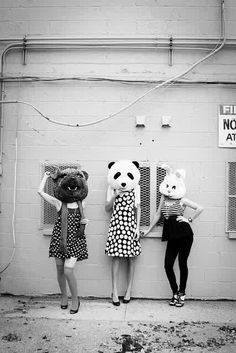 I like how people are wearing animals head and since this picture is black and white, they can pop out.