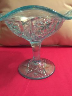 Awesome Imperial Turquoise Carnival Glass Pedestal Bowl | eBay