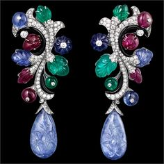 Cartier emerald, ruby, sapphire and diamond earrings.