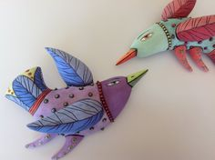 Purple Bird With Green Beak by natalyasots on Etsy