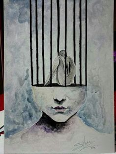 Mind imprisonment - S. Sad Drawings, Dark Art Drawings, Art Drawings Sketches, Meaningful Paintings, Meaningful Drawings, Sad Paintings, Deep Art, Arte Obscura, Sad Art