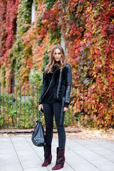 burgundy-shoes-boots-black-skinnies-black-leather-moto-jacket-fur-black-bag-all-black-monochromatic-via-richesforrags.tumblr.com