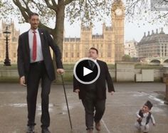 Shortest man and Talest man in the world together in London. Click for the video.