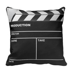 Movie maker Clap Board Throw Pillow Awesome film maker clapper board. Perfect for movie maker, video editor, everyone involves in the movie business