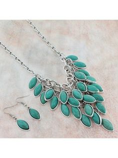 www.ewam.com Burnished Silvertone and Turquoise Stone Bib Necklace and Earring Set